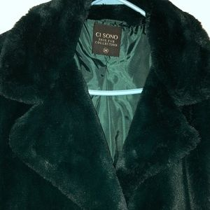 Ci Sono Faux Fur Coat - Green Size Medium